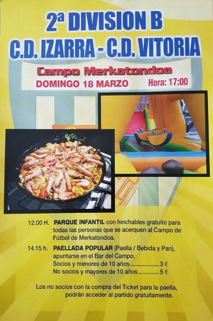 Cartel del CD Izarra sobre la fiesta que preparará este domingo en la previa del partido.